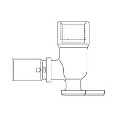 Прессовый отвод 90° с креплением, удлиненный размер