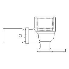 Прессовый отвод 90° с креплением, уменьшенный размер